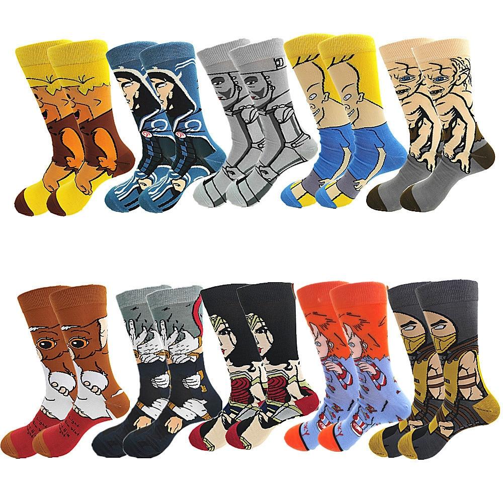 Мужские и женские Мультяшные длинные носки Веселые аниме забавные носки индивидуальные крутые короткие носки уличная мода пошив узора