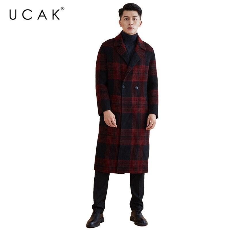 UCAK Marke Wolle Mantel 2019 Neue Ankünfte Winter Mantel Männer Mode Lange Jacke Männer Große Kragen graben Mantel Dicke Warme mäntel U8005