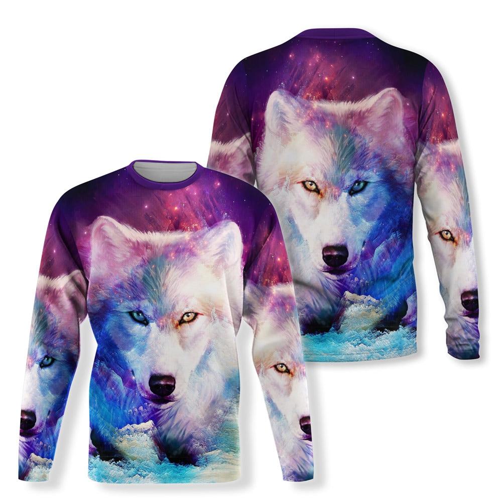 Cute Wolf 3D Design Sweatshirts Men Long Sleeve Shirt 3d Printing Casual Hip hop Cool T-Shirt Men Sp