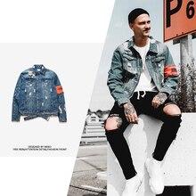 Mens Jean jacket Streetwear Hip Hop Flight Jacket Denim Jacket Men Brand Ripped Denim Jacket Casual Fashion Jacket Men