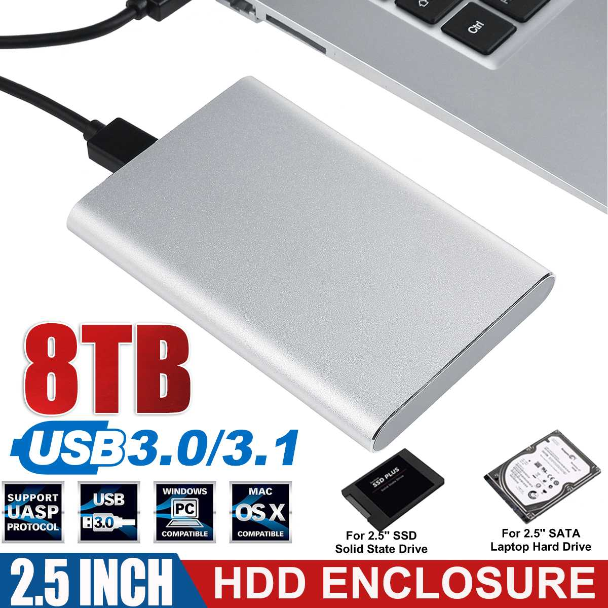 2.5 inch HDD SSD Case Sata to USB 3.0 3.1 Adapter 6 Gbps Box Hard Drive Enclosure Support 8TB HDD Di