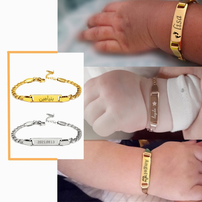 Personalize Baby Name Bracelet Figaro Chain Smooth Bangle Link Gold Tone No Fade Safty baby Jewelry custom letter bracelet