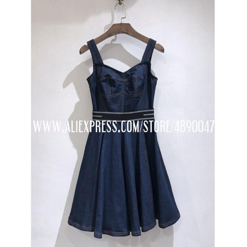 Women's denim dress sexy sleeveless denim dress 2020 high quality Slim-fit three-dimensional cut suspender dress