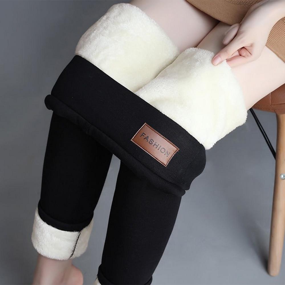 Winter Warme frauen Plus Samt Winter Leggings Ankle-Länge Warm Halten Solide Hosen Hohe Taille Große Größe Frauen leggings