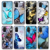 butterfly glass case for samsung galaxy s21 a51 s20 a50 a71 a70 s10 s9 s8 a21s m31 s10e a20 a30 note 20 10 9 lite plus ultra