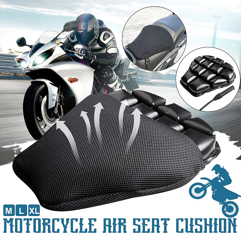 M/L/XL Air Pad Motorcycle Seat Cushion Cover Universal Street Bike Cruiser Inflatable 3D Saddle Pad for Yamaha Suzuki for Honda