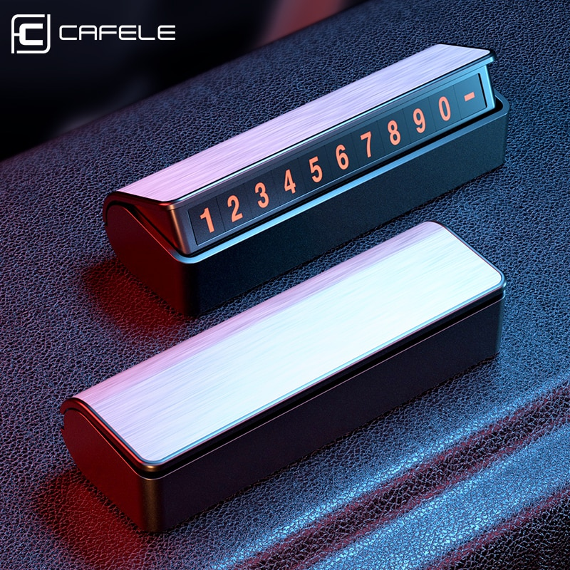 CAFELE Car Temporary Parking Card Holder Magnetic Hide Phone Number Card Plate Parking Card Automoti