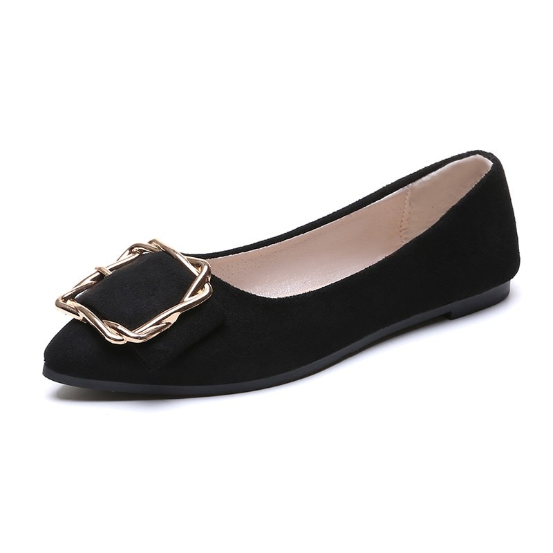 creepers new arrival medium b m 0 3cm big size 34 51 2017 new bottom women ballerina for ballet shoes flats pointed toe e1277 New Slip on Shallow Women Shoes Woman Flats Soft Bottom Casual Shoes Ballet Flats Metal Buckle Pointed Toe Ladies Flats Female