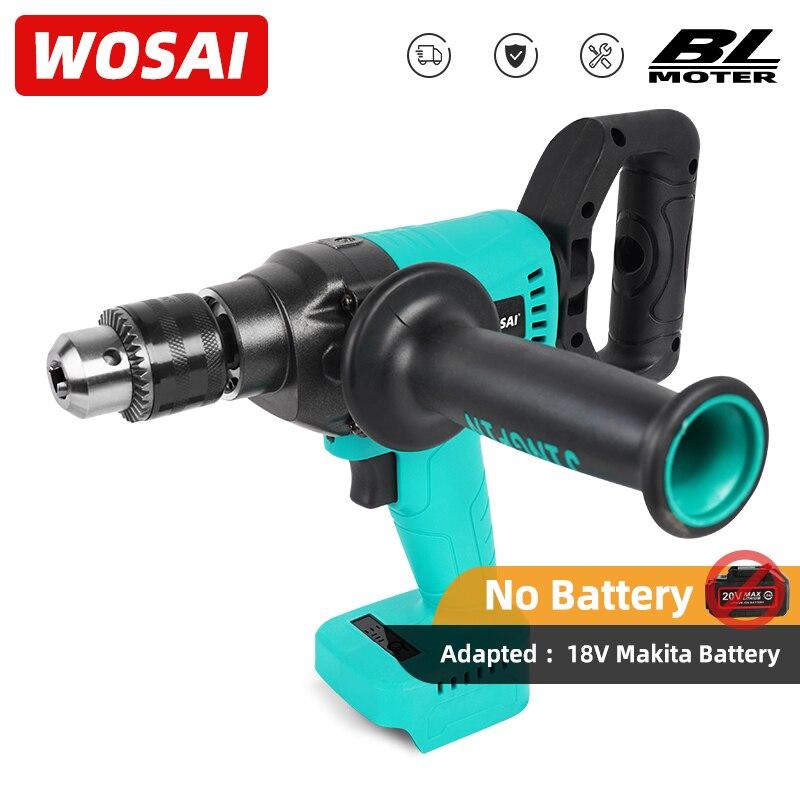 WOSAI-مثقاب كهربائي بدون فرشاة مع عزم دوران ، مفك براغي لاسلكي 130 نانومتر ، بطارية ليثيوم 18 فولت ماكيتا
