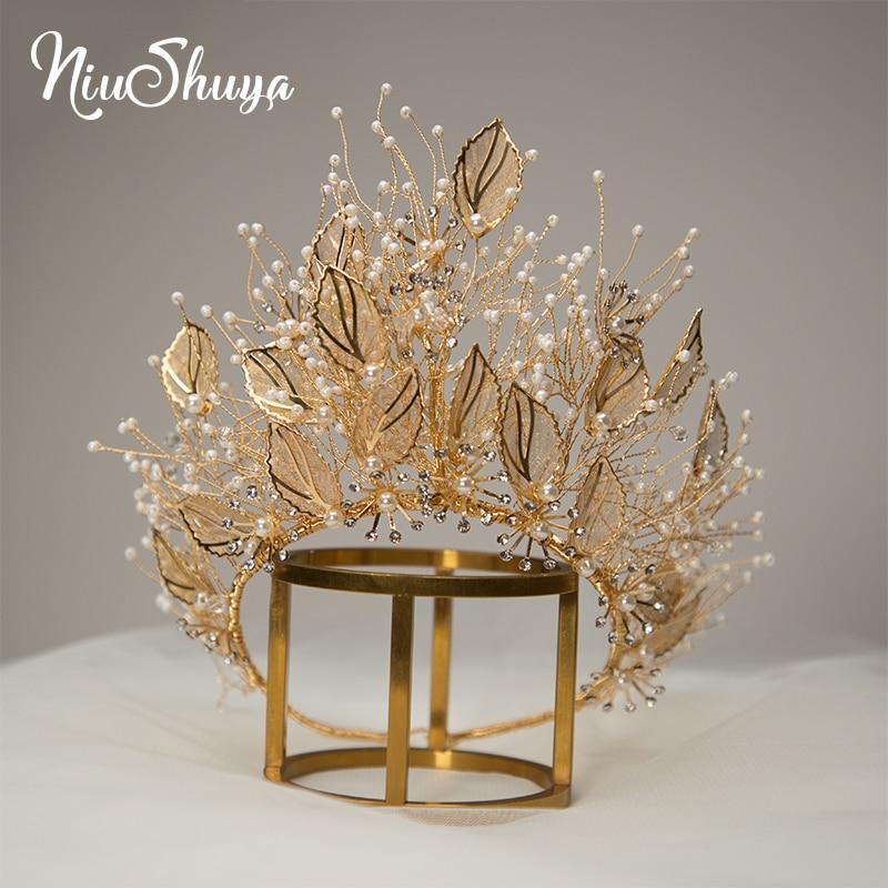 NiuShuya خمر اليدوية الذهب ليف هيرباند للنساء تاج تيارا غطاء الرأس الزفاف إكسسوارات الشعر مجوهرات الزفاف