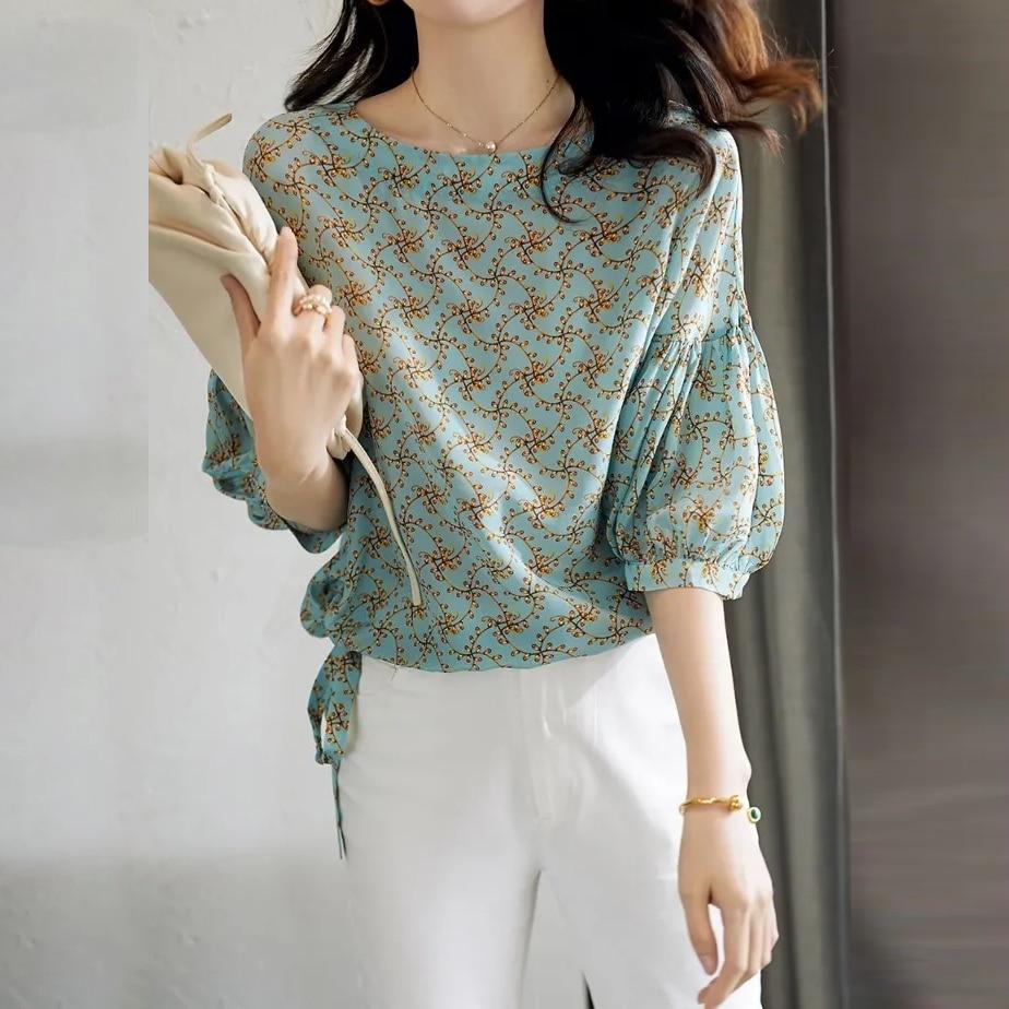 Floral Chiffon Shirt Short Sleeve summer 2021 new T-shirt Korean loose foreign style small shirt fashion short top