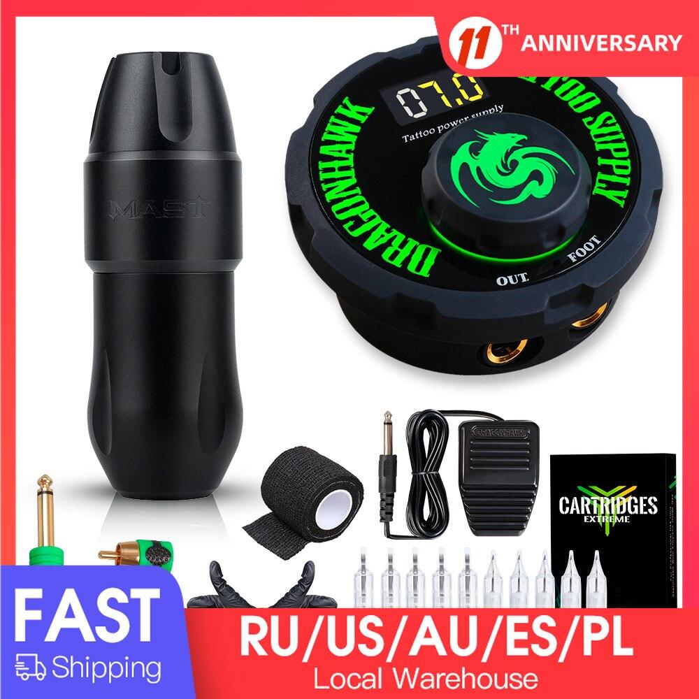 Dragonhawk Mast Top Tattoo Machine Set Kit Motor Rotary Pen Makeup Power Needles
