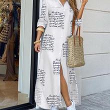 Shirt style button dress women fashion casual long street dress large size loose home commuter print