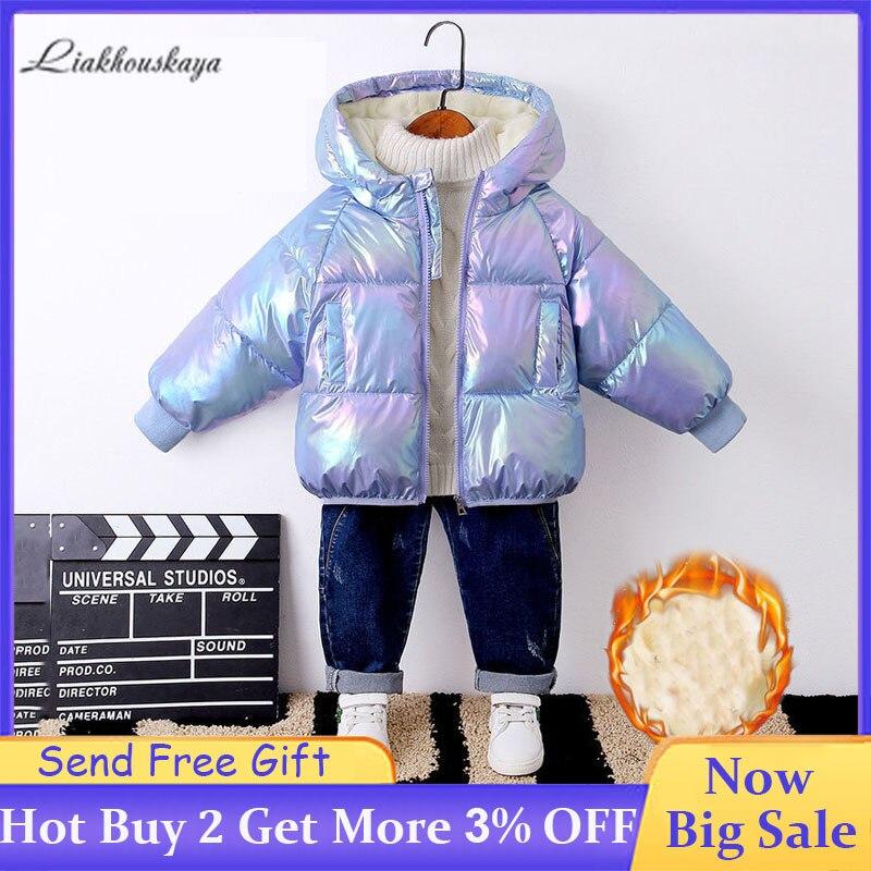Veste dhiver pour filles enfants chaud vêtements dextérieur à capuche garçons imperméable doudoune enfants Plus épais velours veste décontracté Snowsuit