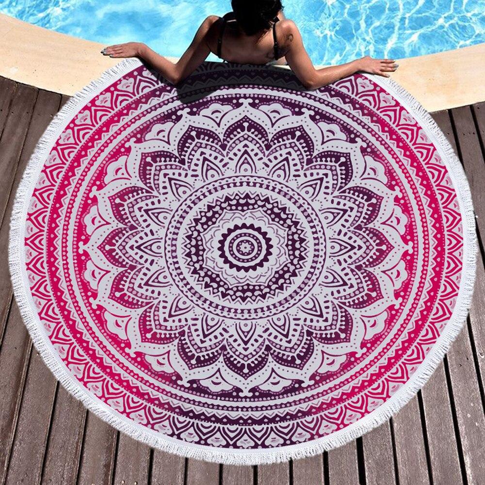 ماندالا طباعة كبيرة مستديرة منشفة الشاطئ للكبار جودة عالية ستوكات منشفة حمام ماصة الصيف السفر شاطئ البحر السباحة المناشف