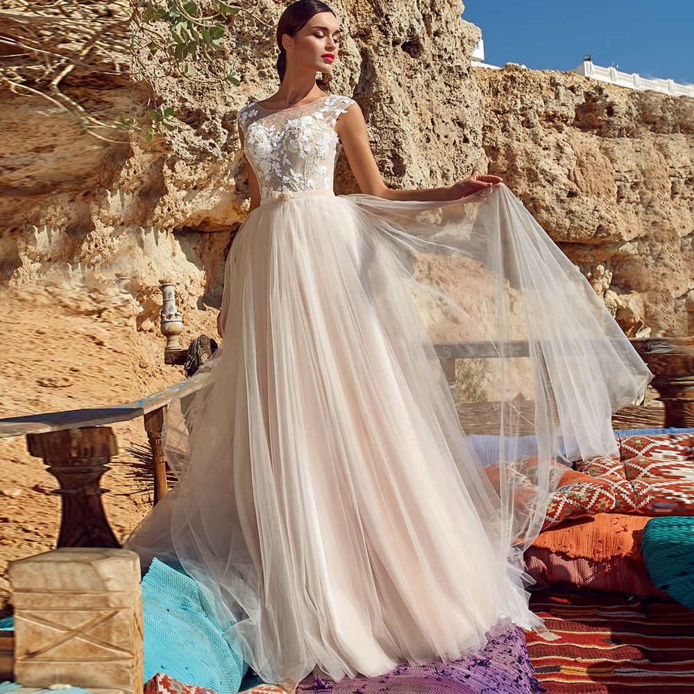 Get Simple Sleeves Tulle Bridal Dresses For Woman Scoop Neck A Line Floor Length With Applique Sashes Wedding Gown Civil Vestidos