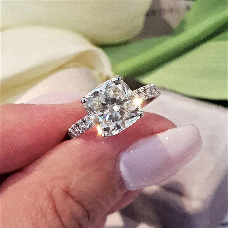 رانده-خاتم زواج من الذهب الأبيض عيار 14 قيراط ، المويسانتي ، اللون DEF ، 3.0 قيراط ، وسادة ، شق ، خطوبة ، للنساء