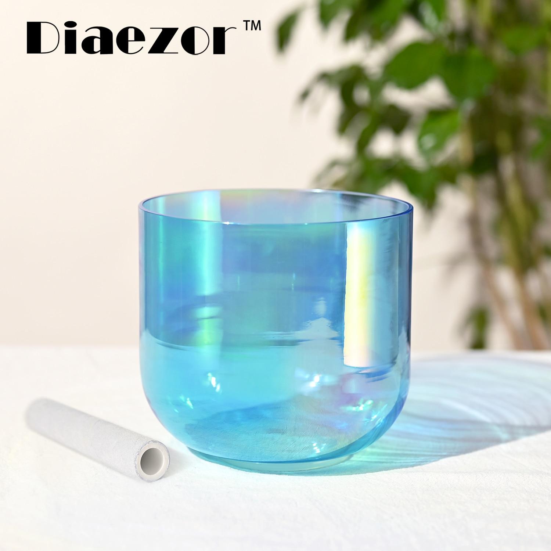Diaezor Clear Chakra Quartz Alchemy Magic Cosmic Light Colorful Crystal Singing Bowl 10 Inch for therapy meditation sound heali enlarge