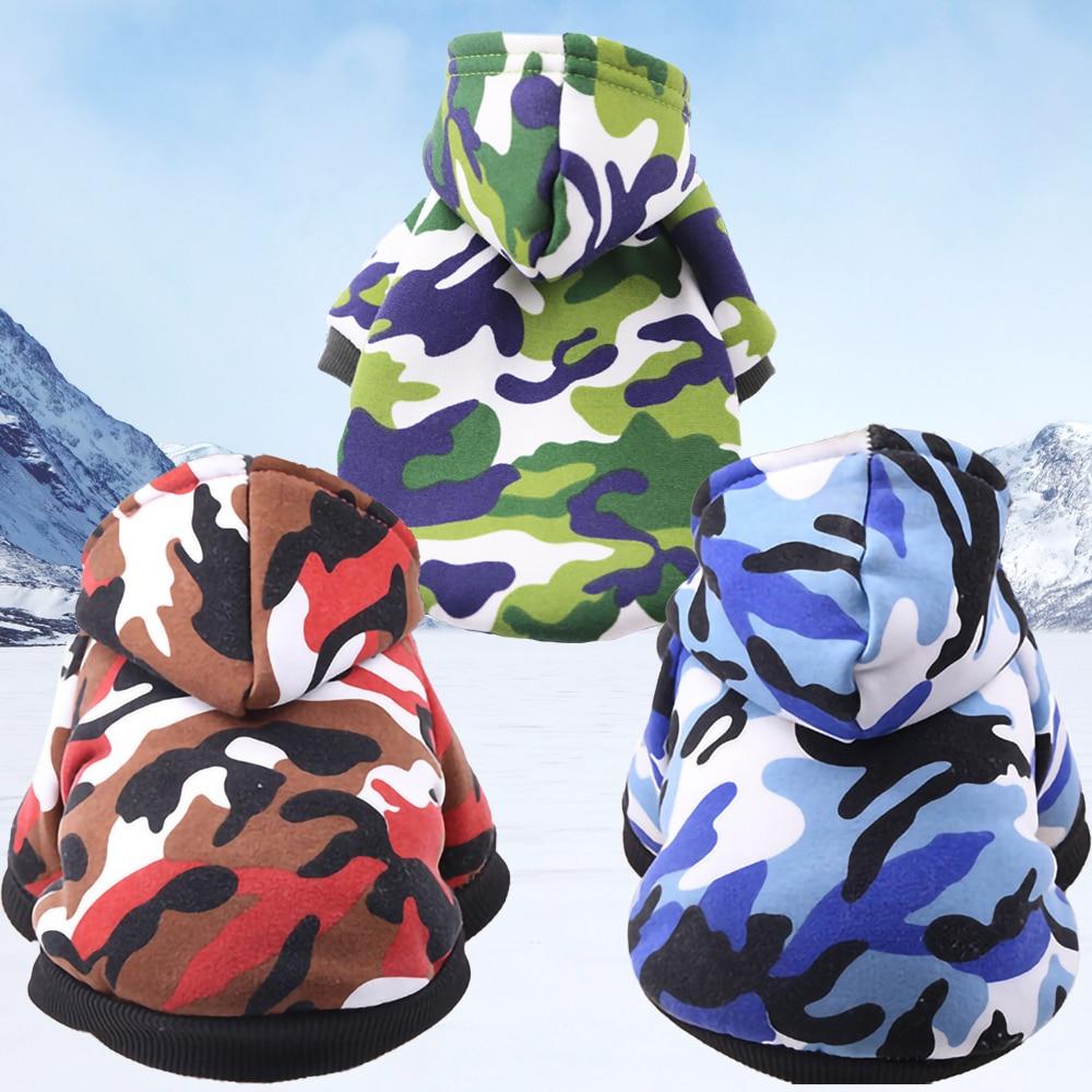 Ropa gruesa de invierno para perros, sudaderas con capucha coloridas de camuflaje para perros pequeños medianos, ropa para cachorros, proveedor de mascotas de cuatro patas