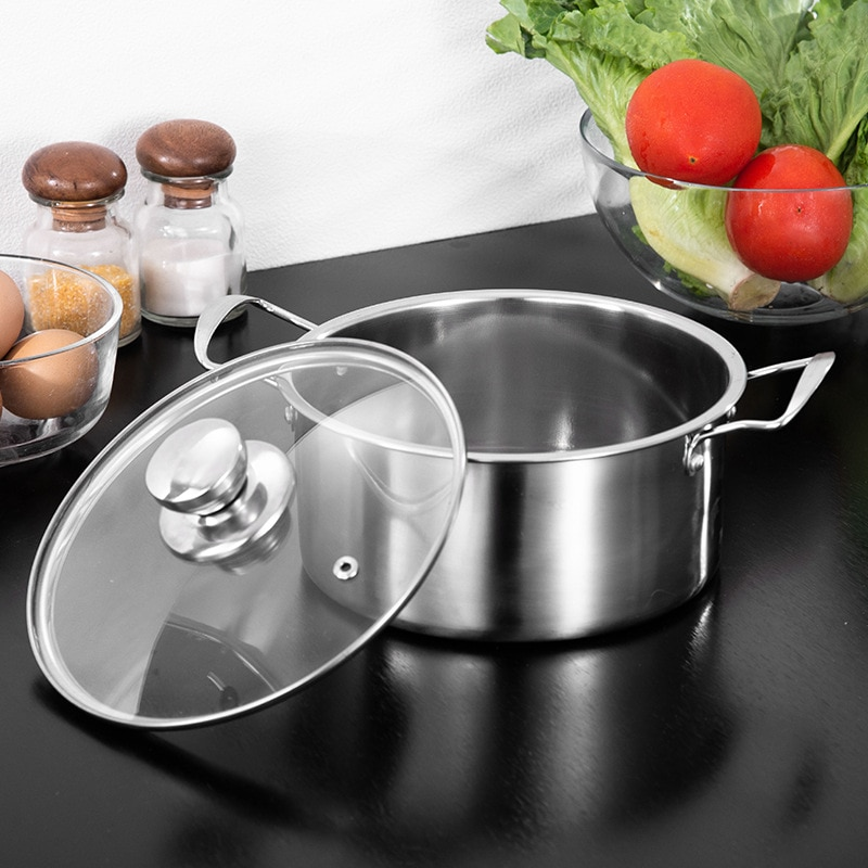 Stainless steel soup pot double-handle pan gift small soup pot induction cooker applicable pots for cooking  pot  hot pot