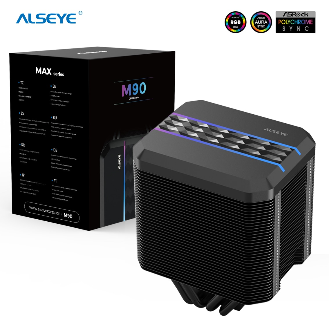 ALSEYE M90 CPU مروحة برودة PWM 90 مللي متر 4 دبوس 4 أنابيب الحرارة برودة دعم X99 اللوحة ل LGA 775 115x1366 2011 AM2 + AM3 + AM4