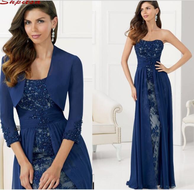 Vestidos de encaje azul marino para madre de la novia para boda con chaqueta, accesorio de noche, vestidos de madrina para novio