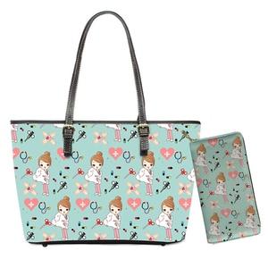 Cartoon Fairy Dentist Design PU Shoulder Bags 2pcs/set Women Zipper Luxury Handbags Purses Large Beach Storage Bag