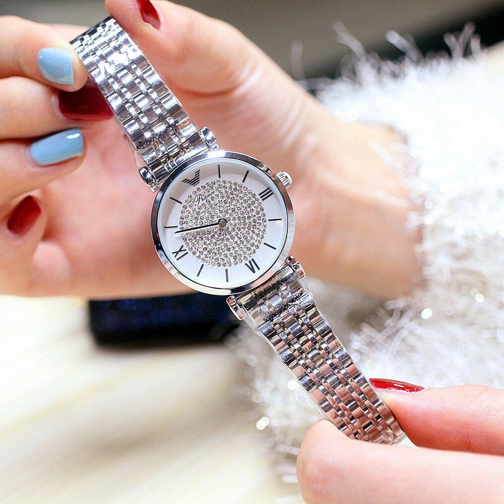 Relógio de Quartzo Relógio de Pulso Aço à Prova Moda Feminino Luxo Diamante Mulher Dwaterproof Água Relógios Simples Senhoras Elegantes Relógio 2021