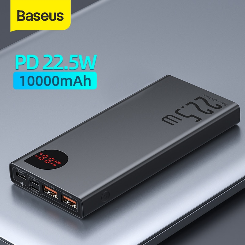 Baseus Power Bank 10000mAh with 20W PD Fast Charging Powerbank Portable Battery Charger PoverBank For iPhone 12Pro Xiaomi Huawei