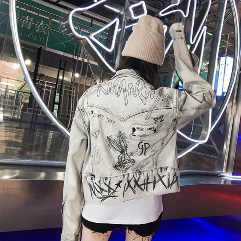 Sexemara fashion the new letter graffiti 와일드 데님 자켓 무료 배송