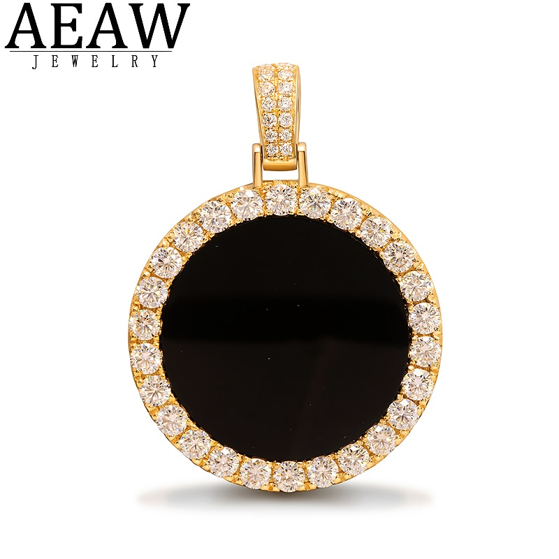 AEAW 30mm 26pcs 3mm Moissanite Souvenir Pendant Centre Black Onyx Can Match Cuban Necklace in S925 Silver 10K Gold No Chain