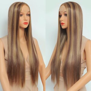 Beauebony Long Straight Wigs Synthetic Lace Wigs For Women Blonde Brown Highlights Cheap Part Lace Wig Natural Hair 26Inch