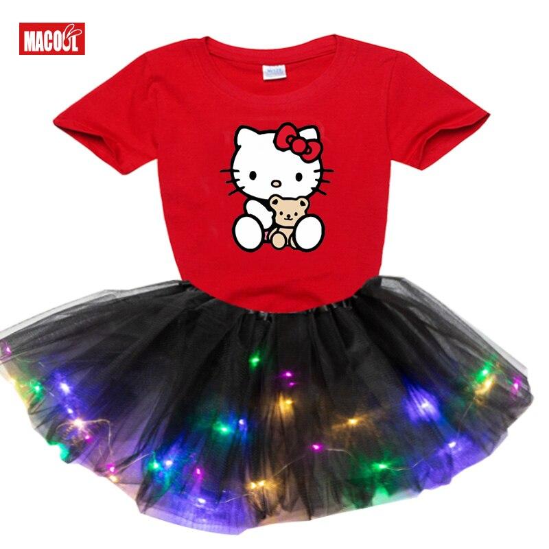 Bawełna dziewczyny odzież ustawia 2020 lato zestaw dla dzieci moda garnitur casualowa lekka LED Tutu sukienka + t Shirt Hellokitty T Shirt 2 sztuka