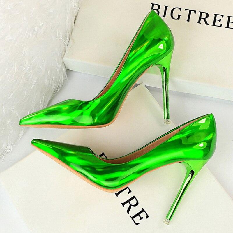 2020 mujeres Sexy fetiche verde azul 10,5 cm tacones altos de talla grande 43 Stripper Scarpins diseñador bombas Stiletto zapatos de fiesta de boda
