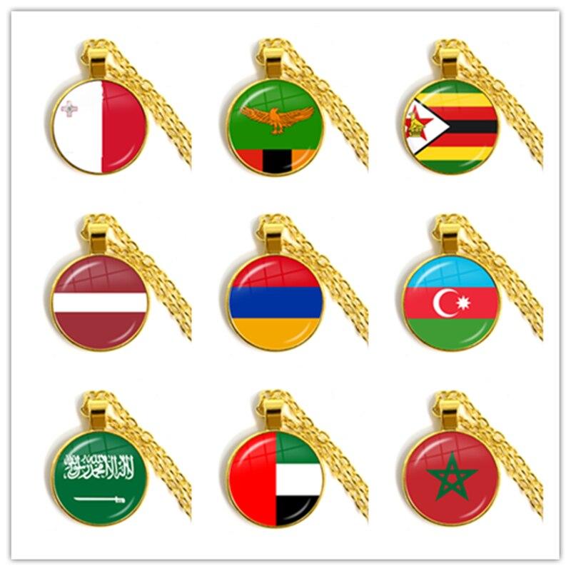 Мальта Замбия, Латвийский, армяно-арабский, Саудовская Аравия, ОАЭ, Марокко, Национальный флаг, стеклянный кабошон, кулон, ожерелье, ювелирные изделия