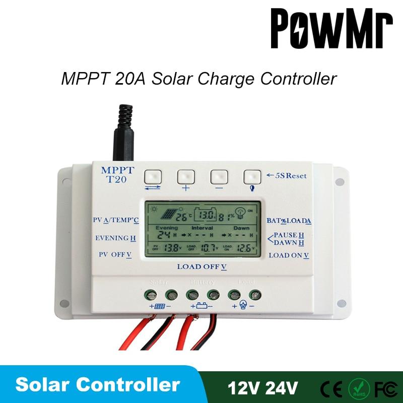 20A الشمسية جهاز التحكم في الشحن لوحة طاقة شمسية تحكم مع شاشة الكريستال السائل ل 12 فولت/24 فولت السيارات المزدوج الموقت وظيفة منظم الطاقة الشمس...