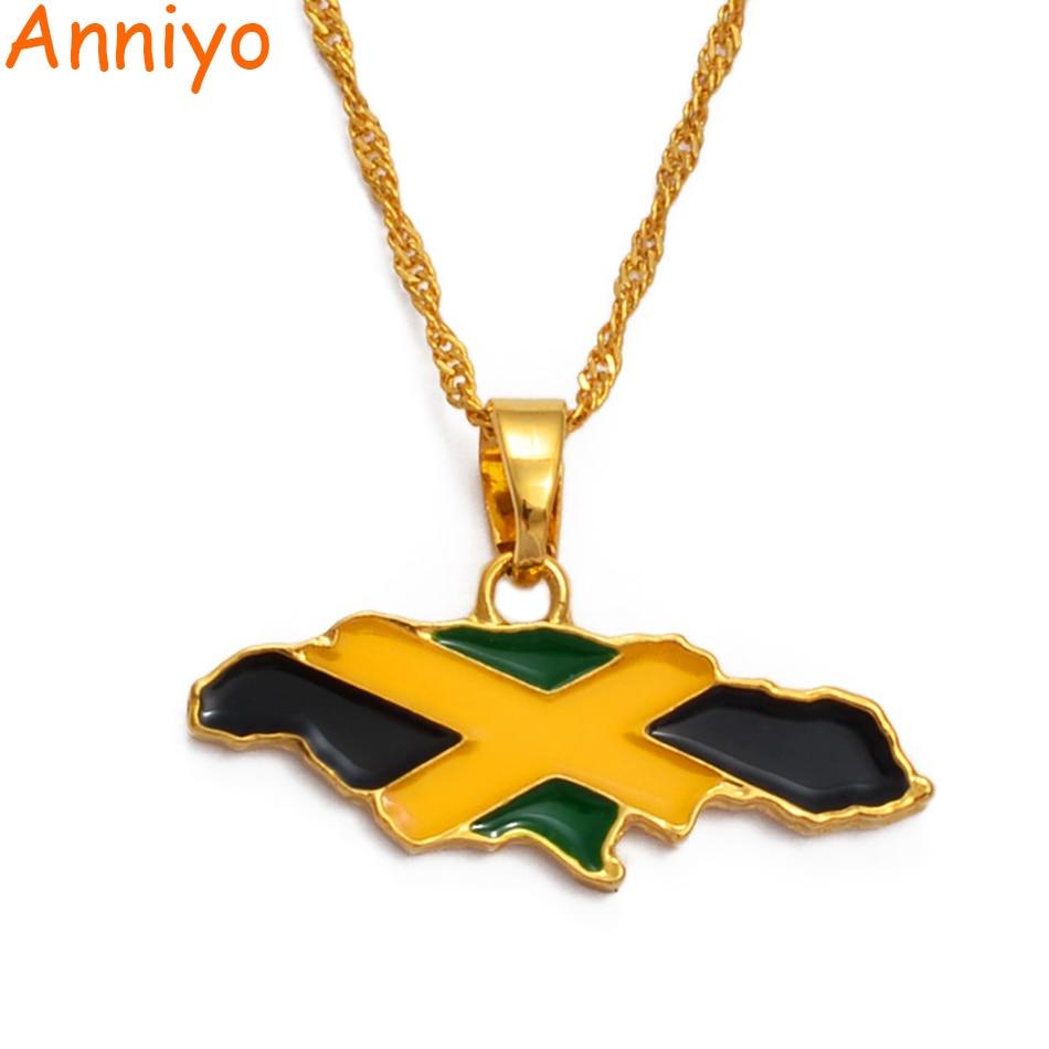 Anniyo ямайская карта и национальный кулон в форме флага, ожерелье золотого цвета, украшения ямайского подарка, карты #080406