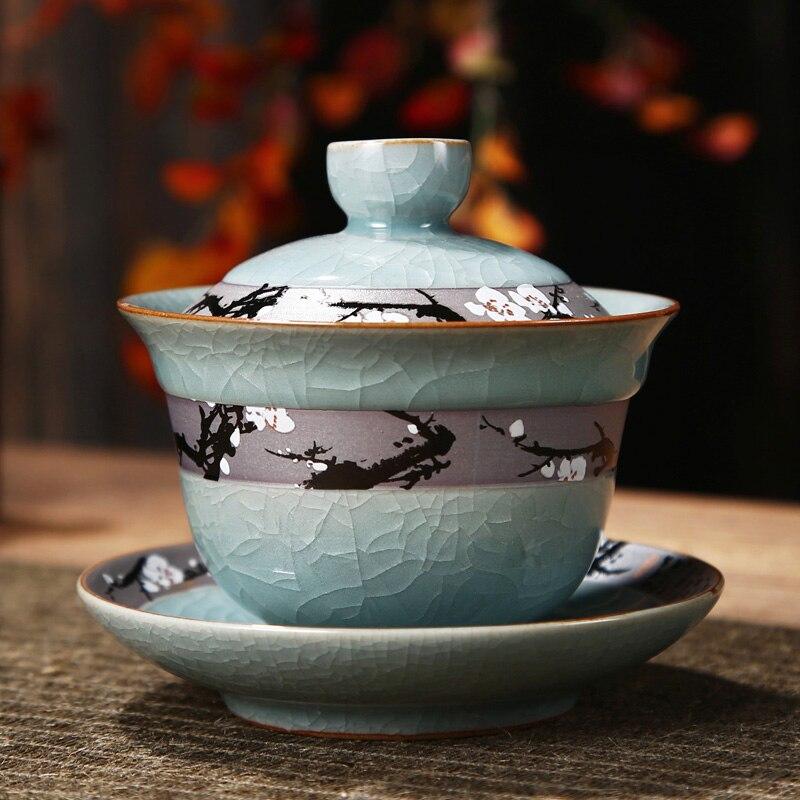 Geياو حجم كبير Sancai كوب واحد السيراميك شريحة الشاي صنع المنزلية الصينية بسيطة الكونغ فو طقم شاي Sopera دي سيراميكا Gaiwan