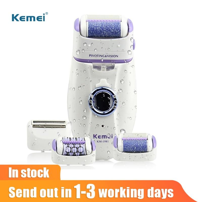 آلة إزالة الشعر الكهربائية من Kemei للنساء 3 في 1 إزالة الشعر بالقدم الإلكترونية ماكينة إزالة الشعر القابلة لإعادة الشحن في المخزن