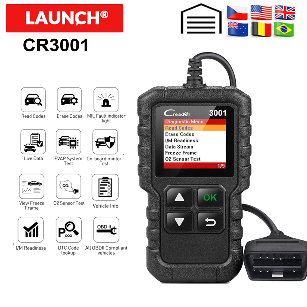 Lanzamiento de X431 CR3001 OBD2 escáner completo OBD II/EOBD lanzamiento Creader 3001 Auto escáner de diagnóstico PK CR319 ELM327 V1.5 v2.1