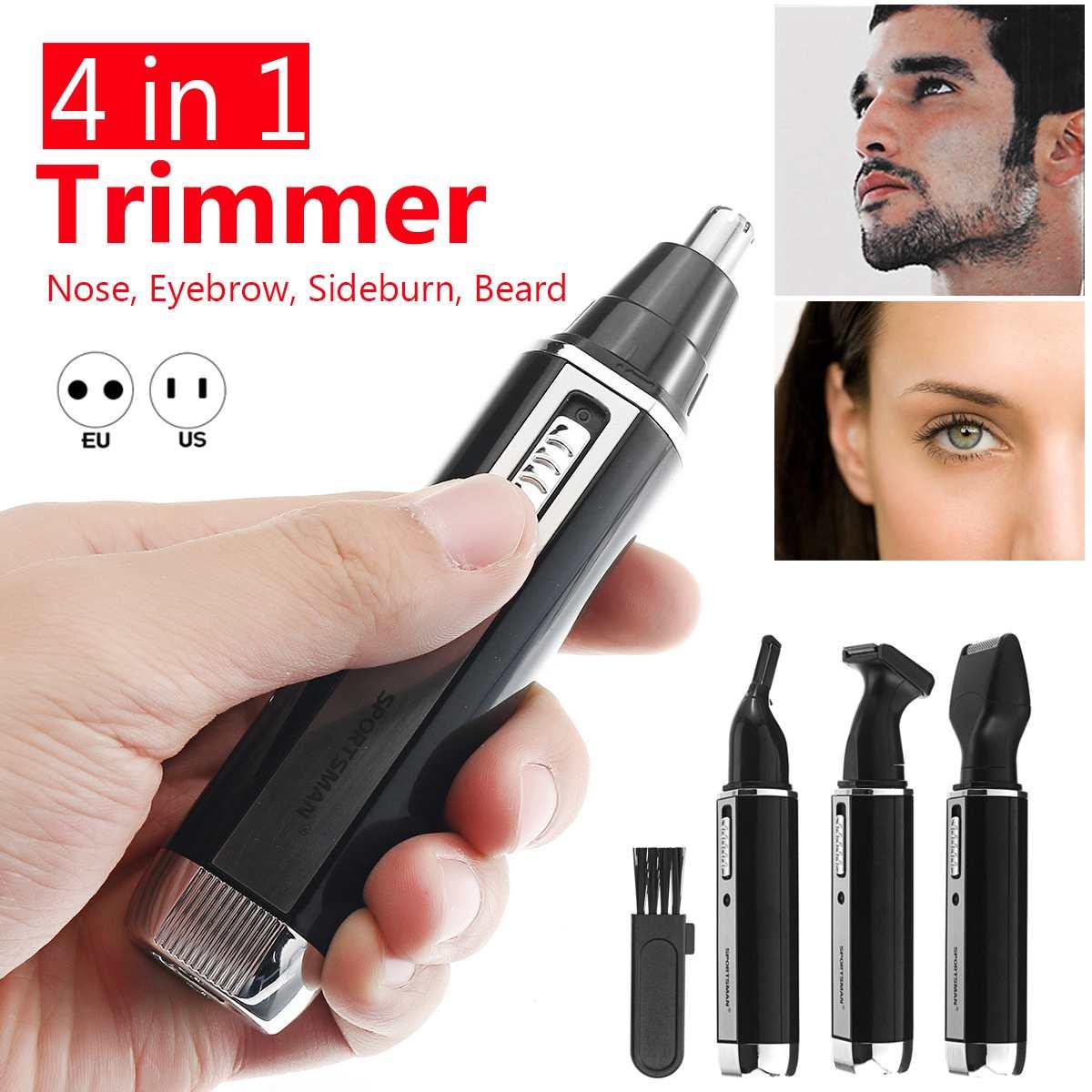 Cortador de pelo de los oídos eléctrico 4 en 1 para hombres, afeitadora recargable para Barba, cejas, afeitadora, eliminación de vello facial, recortadora de ojos