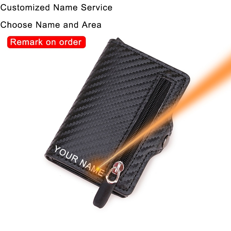 Porte carte en fibre de carbone portefeuilles hommes personnaliser Rfid noir magique à trois volets en cuir mince Mini portefeuille petit sac dargent homme sac à main 2020