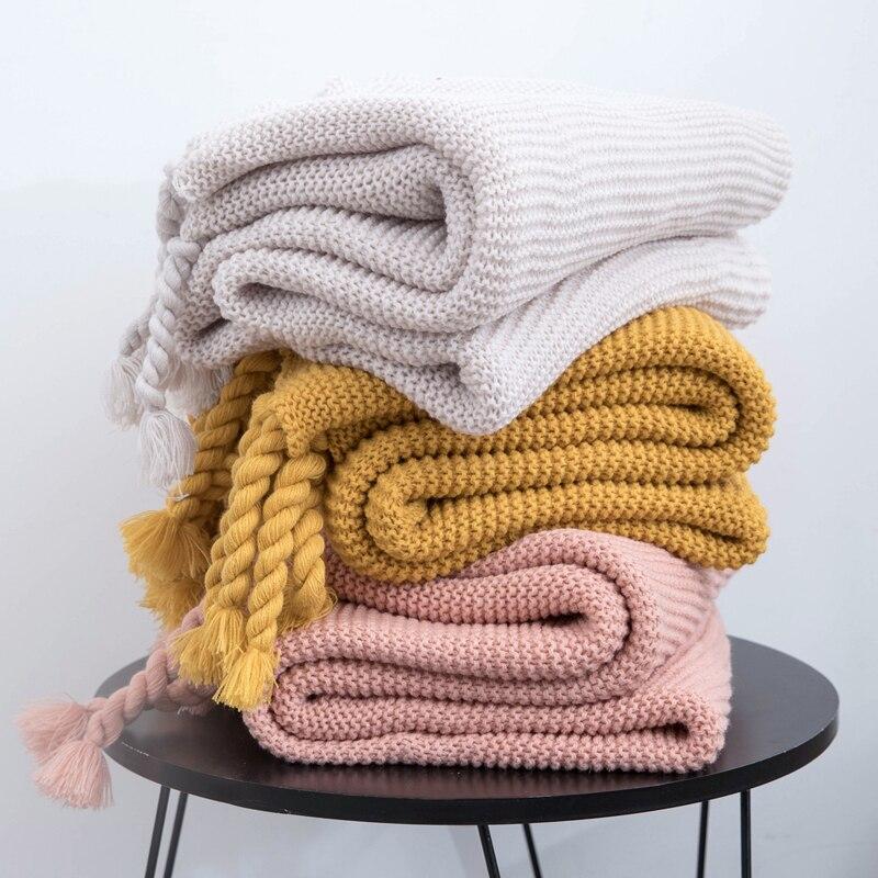 "Frazada simple sofá manta de punto marfil Rosa liso suave borlas a cuadros viaje 130x160cm sofá de casa silla sofá cama 50 ""x 62"""