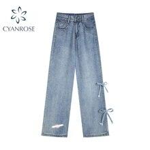 Female Straight Jeans Korean Chic Bow High Waist Baggy Fashion 2021 Autumn Women Embroidery Pants Vi