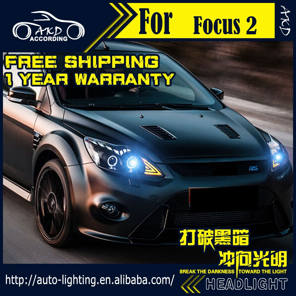 AKD Car Styling faro delantero para Ford Focus LED 2009-2011 foco 2 faros LED DRL D2H Hid haz de señal de giro Bi Xenon