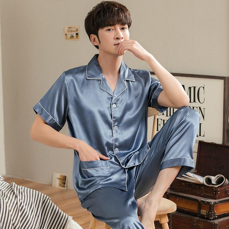 Новинка лето мужские пижамы костюмы атлас шелк мужские пижамы короткие рукав отложной воротник свободные мягкие большие размер 3XL мужские пижамы