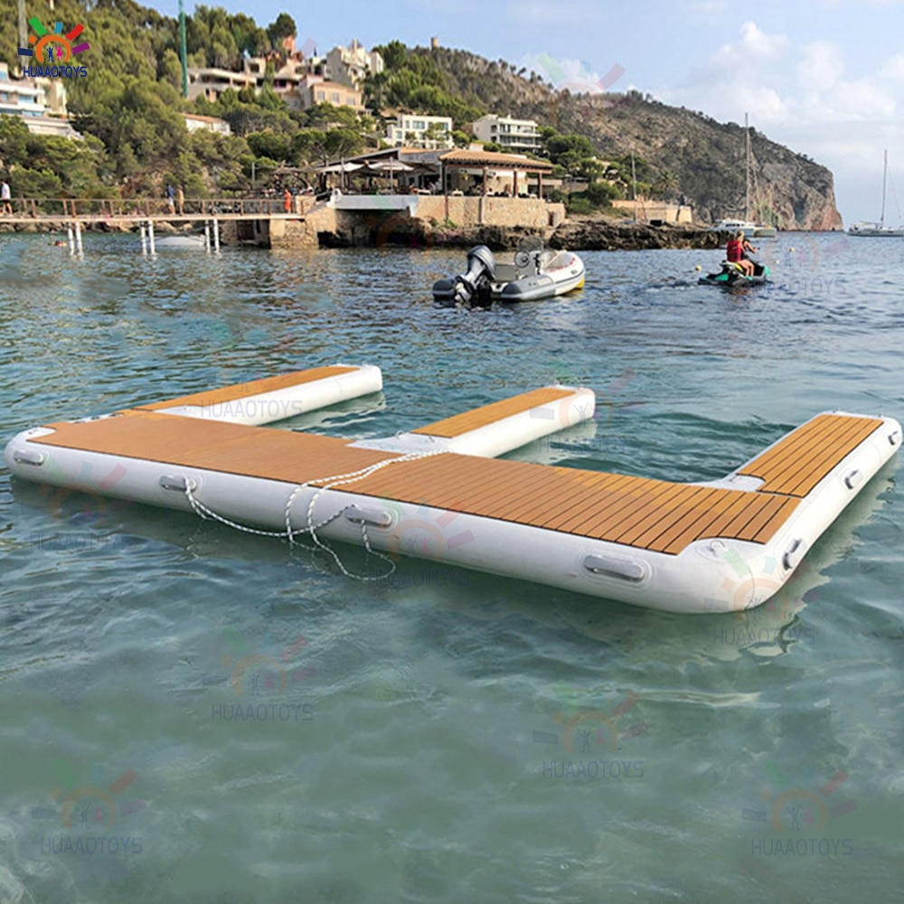 luxurious Jet ski Floating Dock Inflatable Motor Boat Dock Pontoon Inflatable Floating Island for Lakes and Sea