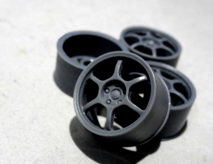 4 piezas, cubo de rueda de plástico de 18 pulgadas, ruedas ABS, piezas modificadas para el modelo de coche civil 1/24 Advan RG3 RGIII