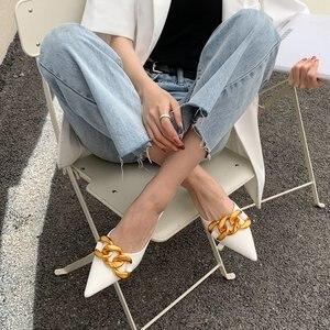 Summer Slippers Woman Fashion Pointed Thin Heel High Heels Half Muller Slipper Metal Decoration Shoes Woman Slides Sandalias