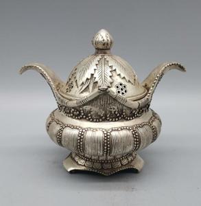 China White copper leaves Incense burner crafts statue